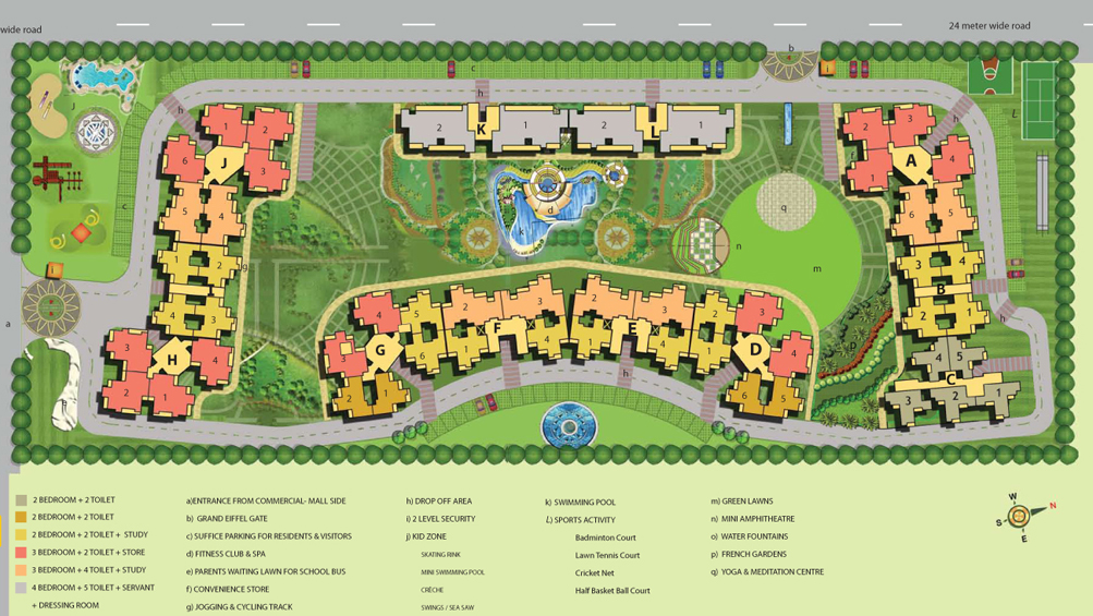 Anthem french apartment noida extension anthem french for Apartment site plan