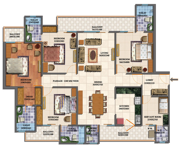 Purvanchal royal city greater noida purvanchal royal for Four bhk bungalow plan
